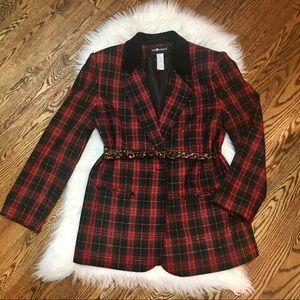 EUC Sag Harbor Vintage red plaid blazer size 12
